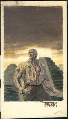 MAGIC ISLAND preliminary sketch by Bob Larkin for Bantam Books Doc Savage cover painting.