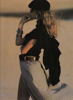 """Variations Marines"", ELLE France, July 1989 Photographer : Marc Hispard Model : Meghan Douglas"