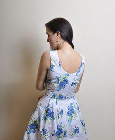 Blue Floral dress Cotton dress by atelierMANIKA on Etsy