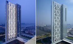 This striking mixed-use development is located in Guangzhou, an industrial city along the Pearl River. Sited within a new commercial district, the complex consists of two office towers, each coupled with a podium that houses exhibition and retail space Pearl River, Construction Types, Futuristic Architecture, Skyscraper, Multi Story Building, Real Estate, City, Buildings, Guangzhou