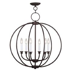 Bring contemporary flair to your entryway or foyer with this chic 6-light chandelier, showcasing an orb silhouette and bronze finish.