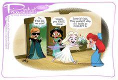 Pocket Princesses No. by Amy Mebberson Disney Pixar, Walt Disney, Disney Marvel, Disney Fan Art, Cute Disney, Disney Girls, Disney And Dreamworks, Disney Magic, Pocket Princesses