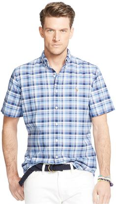 Sale Enjoy Big & Tall Gingham Check Oxford Shirt in Blue/White - Multi blue / white Polo Ralph Lauren Buy Cheap How Much Purchase 4SFFGhKFRw