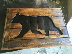 Wooden Black Bear Silhouette Pallet sign- Hunting decor and Gifts for him- recycled wood pallet sign- rustic wall hanging- country Bear art