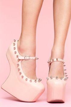 Pink heel-less heels Jeffrey Campbell