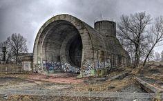Unfinished railway tunnel under the Dnipro 1936. Ukraine.