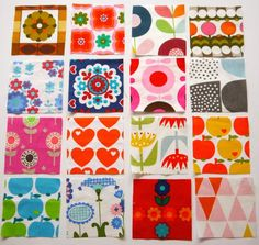 Pack of Vintage and Retro Scandinavian Fabric Patchwork . Retro Fabric, Vintage Fabrics, Vintage Patterns, Vintage Prints, Scandinavian Pattern, Scandinavian Folk Art, Scandinavian Kitchen, Retro Pattern, Pattern Design