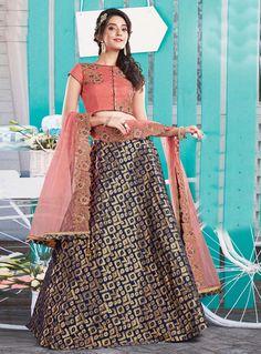 Navy Blue Silk Jacquard Wedding Lehenga Choli 81056