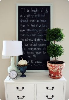 framed blackboard with quote for kitchen