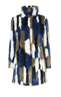 98906b026fd1 Blue, grey, black and white patchwork faux fur coat with a funnel neck and  stylish concealed hook and eye fastening.