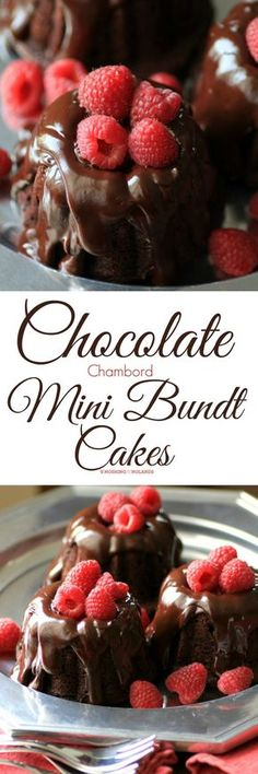 Chocolate Chambord Mini Bundt Cakes by Noshing With The Nolands is a decadent dessert that will be raved over. Easy to make, this is the perfect ending to a romantic dinner for two! #BundtBakers