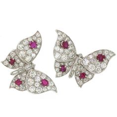 SUZANNE BELPERRON. Pair of Ruby Diamond Butterfly Brooches  France  Circa 1940