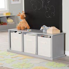 Classic Playtime Hopscotch Storage Bench - Gray - KY020-1-GR