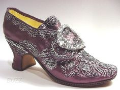 Martha Washington's wedding shoes 1759 - deep purple silk studded with silver sequins