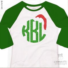 monogram glitter shirt, sparkly Santa hat, girl raglan shirt