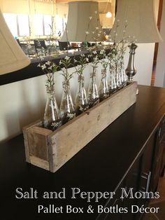 Salt and Pepper Moms: Pallet Box & Bottles Decor