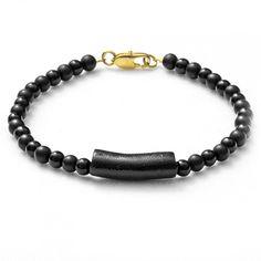 """Bracelet with onyx and coral """"HEJ"""" - Armband mit Onyx und Koralle"""