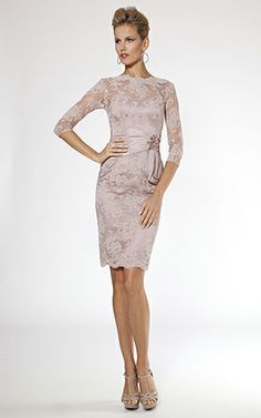 Beaded Lace and Taffeta Belted 3/4 Sleeve Dress