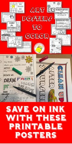 """Let your students """"own"""" the posters in your classroom by decorating them for you! As they color and decorate they will be reviewing important information you want them to remember throughout the year. https://www.teacherspayteachers.com/Product/Art-Posters-to-Color-for-the-Art-Classroom-2588263"""