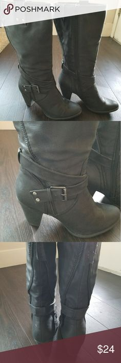 Charcoal blacks boots size 7.5 Charcoal black boots from Worthington. Size 7.5. Only worn a few times! Worthington Shoes Heeled Boots