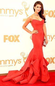 Nina Dobrev wears a stunning Donna Karan gown, Brian Atwood peep-toes and Neil Lane jewels at the 2011 Emmy Awards