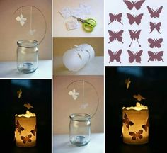 Butterfly silhouette candle