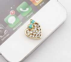 Bling Rhinestone Heart with Blue Bow Home Button Sticker, phone charm accessary for iPhone 4/4s, iPhone 5, iPad, gift box on Etsy, $4.20
