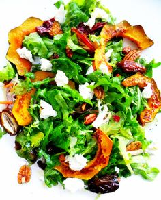 Roasted acorn squash, medjool dates, red onion, whole pecans and goat cheese tossed in a vinaigrette |  Proud Italian Cook - Home Cooking, Italian American Style