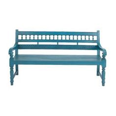 """Mahogany wood bench with a slatted seat and openwork back.   Product: BenchConstruction Material: Mahogany woodColor: TurquoiseFeatures: Made in IndonesiaDimensions: 37"""" H x 63"""" W x 23"""" D"""