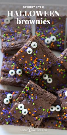 Spooky Eyed Halloween Brownies (Dairy Free) These simple, fudgey brownies are transformed into Halloween brownies with colorful Halloween sprinkles and edible googly eyes. Halloween Brownies, Halloween Snacks, Halloween Cupcakes, Comida De Halloween Ideas, Bolo Halloween, Postres Halloween, Dessert Halloween, Halloween Cookie Recipes, Halloween Cookies Decorated