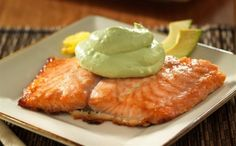 Oven baked Salmon marinated in a butter-brown sugar-lime ponzu glaze and topped with a creamy Avocado sauce makes a great dish for entertaining because you can relax while the salmon bakes.