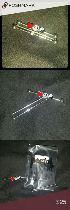 Professional grade body jewerly Professional grade pure titanium new straight from distributor, for Industrial piercing all 3 pieces included super duper cute with the peace sign heart and yin and yang symbol will look cool/ sell at studio for 55.00 but im trying to give some posh love Metal Mafia Jewelry Earrings