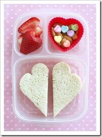 **I did the sandwiches, strawberries and cut hearts out of apple slices. I also included chocolate hearts.  My kids LOVED it.