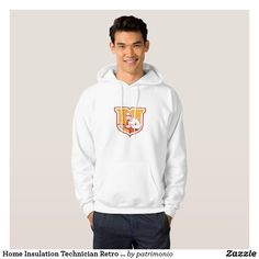 Home Insulation Technician Retro Shield Hoodie. Hooded sweatshirt designed with a retro woodcut style illustration of a home insulation technician holding an insulation pipe set inside a shield. #hoodie #homeinsulationtechnician #homeinsulation