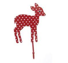 Bambi Babykamer haakje Rood  Kinderkapstok van handgeverfd metaal. Ditlieve hertjeisrood geverfd met witte stipjes. Op te hangen met een haakje aan de achterkant, voorin de babykamer.Afmeting 1...
