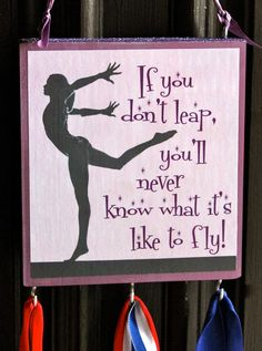 Gymnastics sign with medal holder - medal hanger - team gift - inspirational saying with sports medal hanger. $15.00, via Etsy.