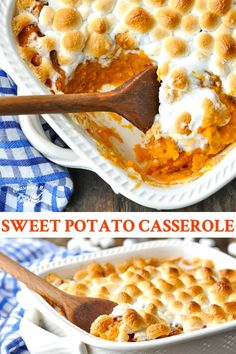 This Southern Sweet Potato Casserole with Marshmallows is a classic side dish that makes an appearance on just about every holiday table! Baked Sweet Potato Casserole, Sweet Potato Souffle, Sweet Potato Pecan, Potatoe Casserole Recipes, Sweet Potato Recipes, Mashed Sweet Potato Casserole Recipe, Sweet Potato Mash, Brown Sugar Sweet Potatoes, Thanksgiving Side Dishes