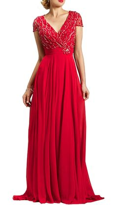 Ethel Women's A-line V-neck Long Evening Dresses with Short Sleeves -- Click image for more details. (This is an affiliate link and I receive a commission for the sales)