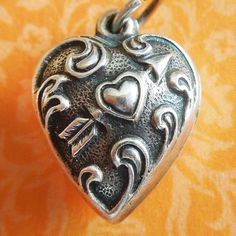 Vintage Cupid's Arrow Extra Puffy Heart Sterling Silver Charm ~ Hand-engraved LOIS