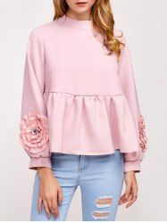 Flower Embellished Puff Sleeve Blouse