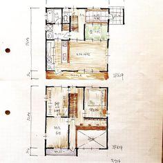 『32坪の間取り』4LDK、吹抜け、フリースペースなど。 洗面脱衣室が2way。 #間取り#間取り図#間取り図大好き #マイホーム#新築一戸建て #家づくり#住まい#住まいづくり#ライフスタイル#32坪#30坪#2階建て #コスパ最高 #4人家族#3人家族#プラン#設計事務所#設計#設計士#floorplan#japanese - atelierorb