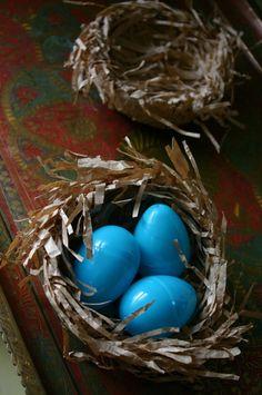 Paper bag nests for Easter.