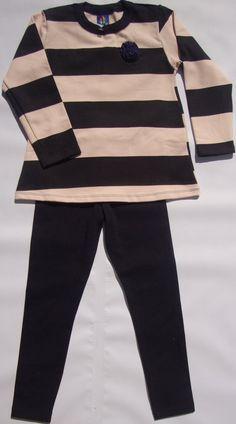 04008e961a Conjunto de moleton com legging de listras azul marinho( tamanho 06 anos)