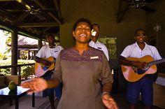 Staff members singing, Vomo Island Resort, Fiji Islands