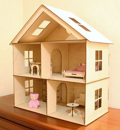 This doll house is made with love and care from plywood. It can be a perfect gift for various occasions! The dollhouse has 3 floor to play with playmobil, peppas family, sylvanian and other dolls. House comes unassembled , but it is very easy to assemble it. Size: H 24 x W 20.5 x D 10.6 Furniture : 1 bed with 1 blanket and 1 pillow, 1 table, 1 lamp, 1 cupboard, 1 sofa, 2 chairs You can also use it as a shelf for toys. Please contact me for a shipping cost before you place the order. Feel ...