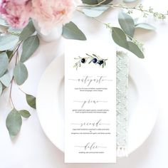 Watercolor Olive Branch and Olives Wedding Menu Watercolor