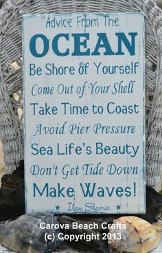 Beach Decor - Beach Coastal Wood Sign - Advice From The Ocean Sign - Nautical Decor - Coastal Decor - Hand Painted - Reclaimed Wood Coastal Homes, Coastal Decor, Coastal Living, Nantucket, Les Hamptons, I Need Vitamin Sea, Beach Room, Beach Art, Beach Crafts