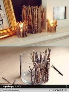 Using tree pruning sticks to make a candle holder