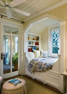 Don't let the space near your window unused. Instead, turn the space into a comfy window seat. Here we listed window seat ideas to help you create one Alcove Bed, Bed Nook, Cozy Nook, Bedroom Nook, Bedroom Ideas, Cozy Corner, Master Bedroom, Bedroom Decor, Cosy Bed