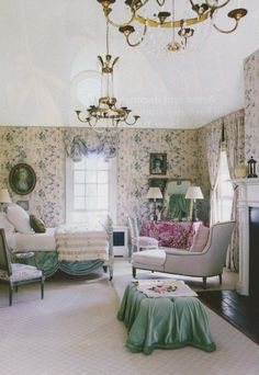Floral Decorating Ideas Bedrooms Guest Green Shade Draped Buttoned